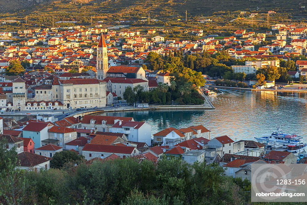 Elevated view over the old town of Trogir, UNESCO World Heritage Site, at sunrise, Croatia, Europe