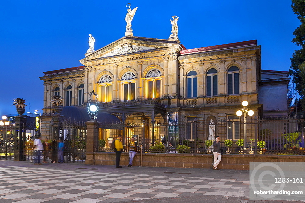 The National theatre (Teatro Nacional) in San Jose at dusk