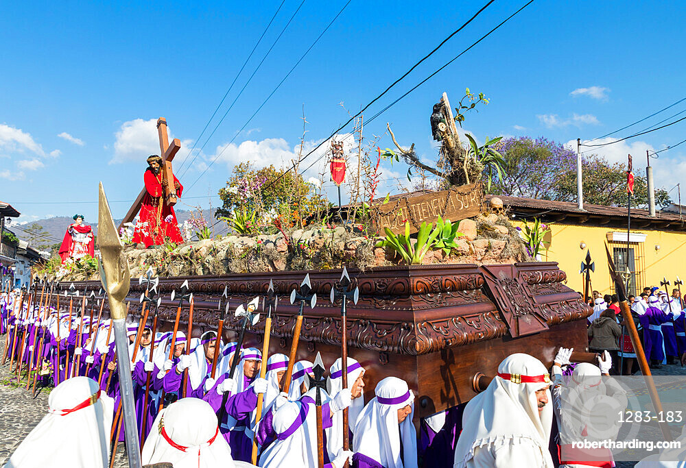 Good Friday procession in the streets of Antigua during Holy Week 2017