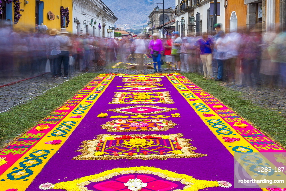 Sawdust carpet for the Good Friday procession during Holy Week 2017 in Antigua