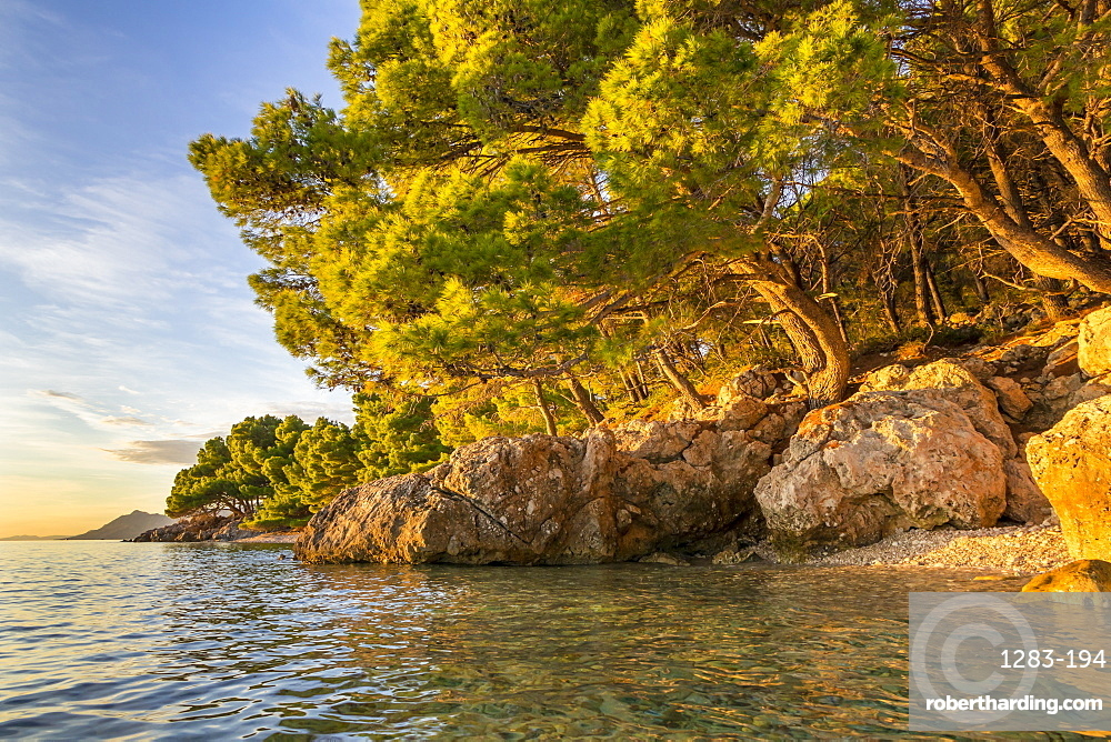 Small beach at Cvitacka near Makarska at sunset, Croatia, Europe