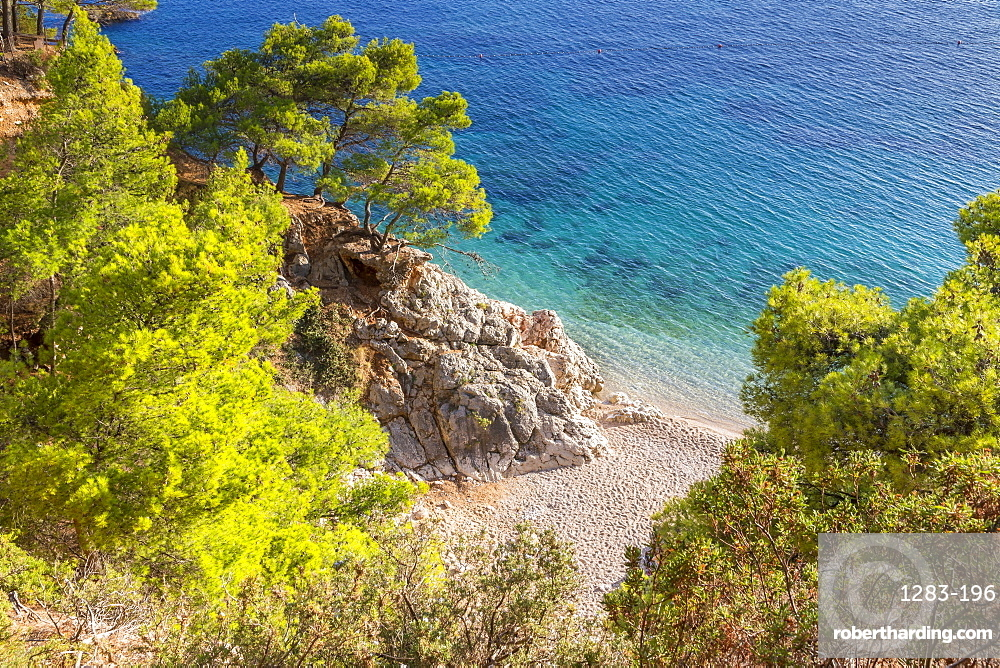 High-angle view over Jagodna Beach on Hvar Island, Croatia, Europe