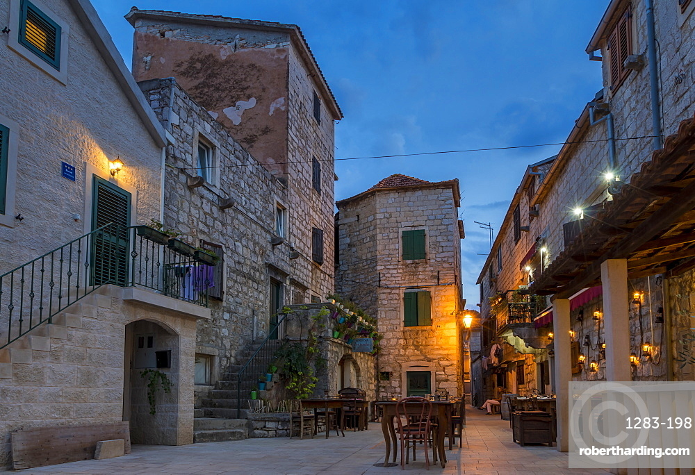 Small square in the old town of Stari Grad on Hvar Island at dusk