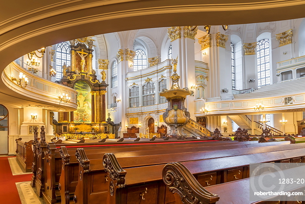 Interior of St Michael's Church, Hamburg, Germany, Europe