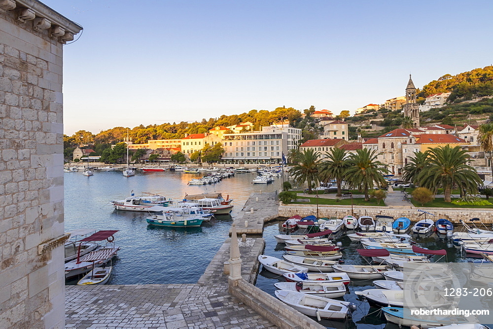 Elevated view over the port of Hvar Town at sunrise