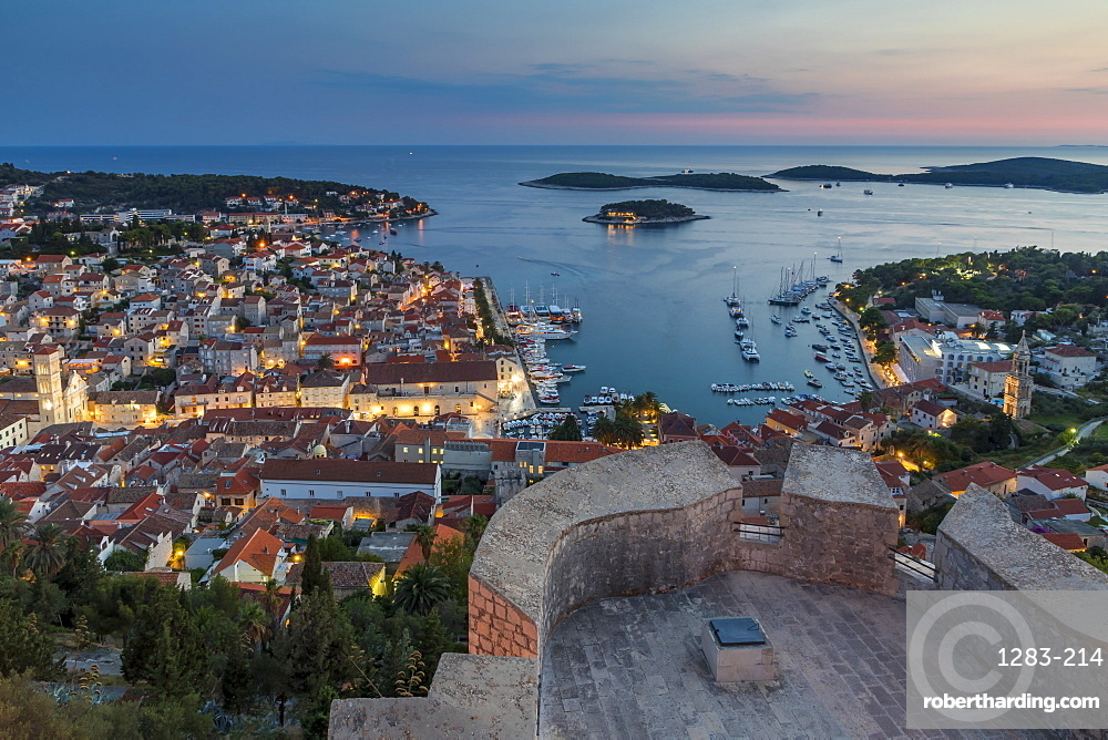 Elevated view over Hvar Town from the Spanish Fortress at dusk