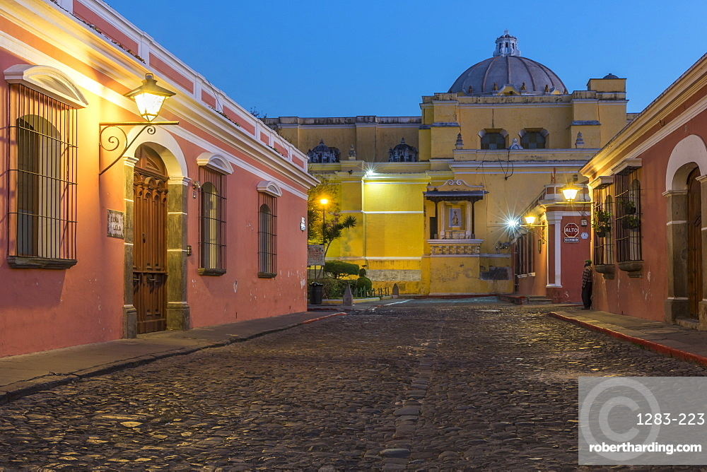 Colonial houses and the La Merced cathedral in Antigua at dawn
