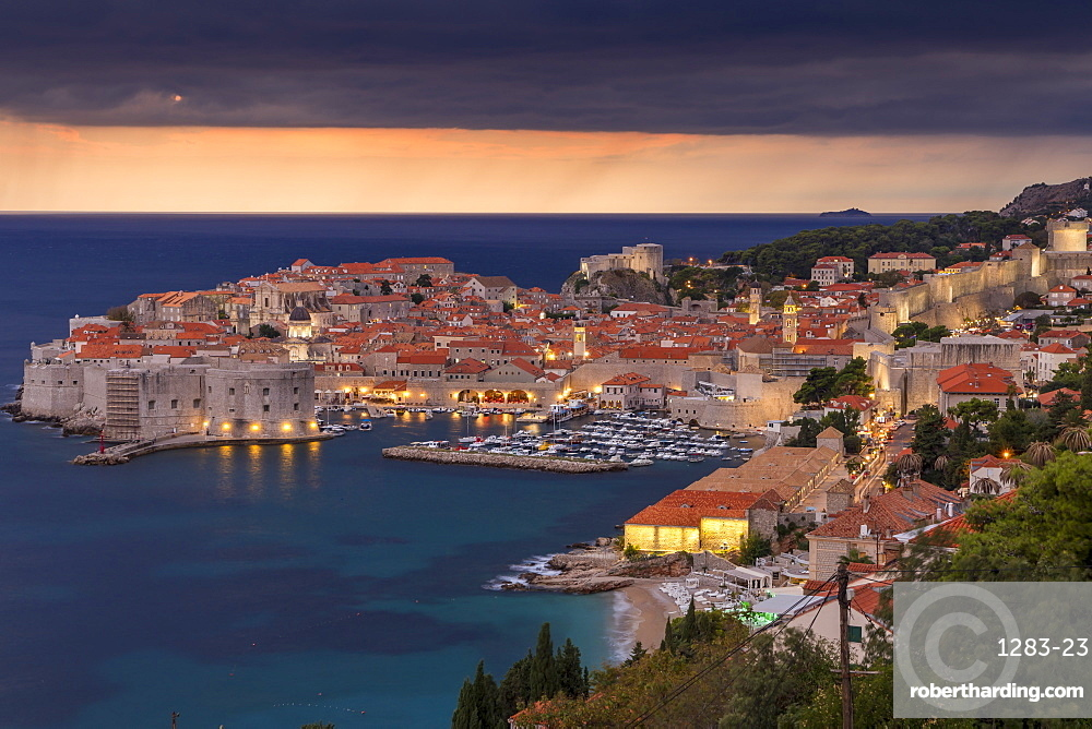 Elevated view over the old town of Dubrovnik at dusk, minutes before the rainfall, UNESCO World Heritage Site, Dubrovnik, Croatia, Europe