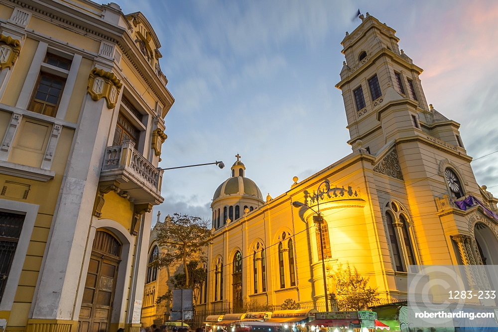 The Tipografia building and the church Our Lady of Remedies at Zona 1 (city centre) in Guatemala City