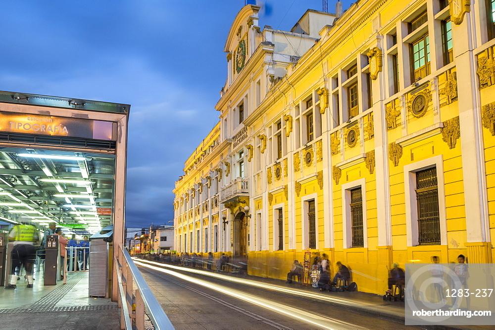 The illuminated Tipografia building at Zona 1 (city centre) in Guatemala City