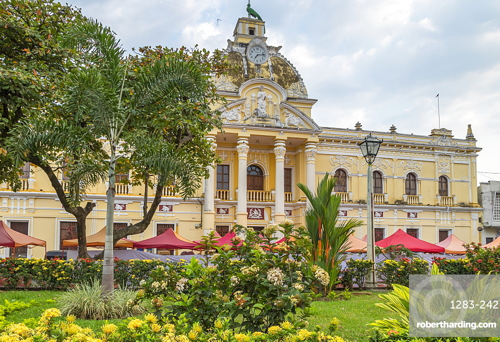 The town hall of Retalhuleu at the main square, Retalhuleu, Guatemala, Central America