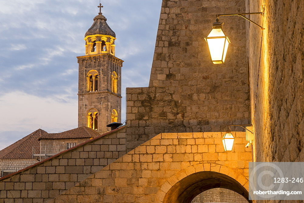View from the Ploce Gate to the tower of the Dominican Monastery in the old town of Dubrovnik at dawn, UNESCO World Heritage Site, Dubrovnik, Croatia, Europe