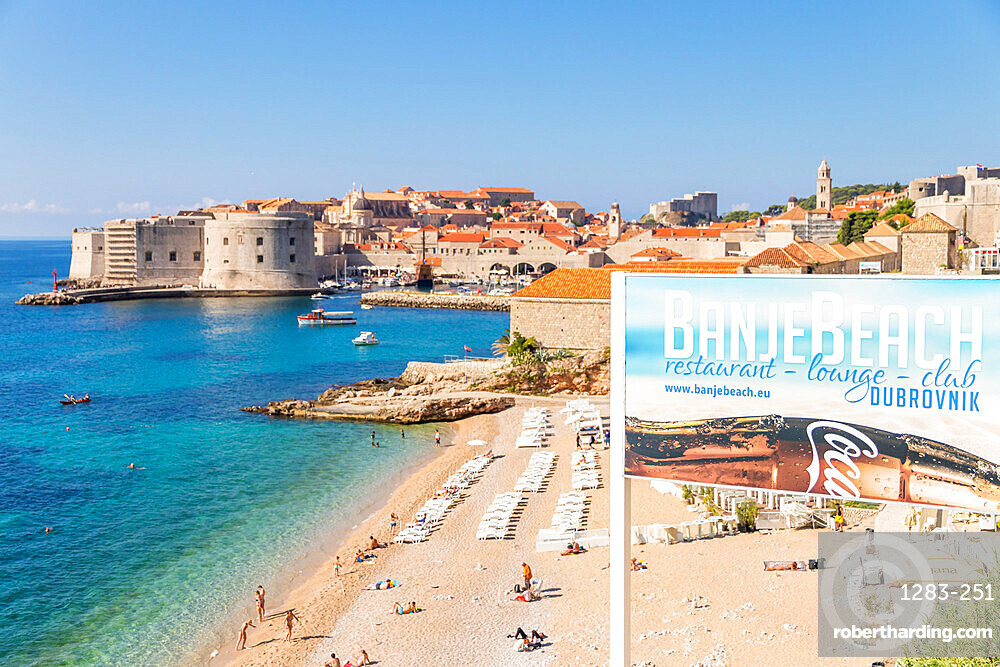 View over Banje Beach and the old town of Dubrovnik in the background, Dubrovnik, Croatia, Europe