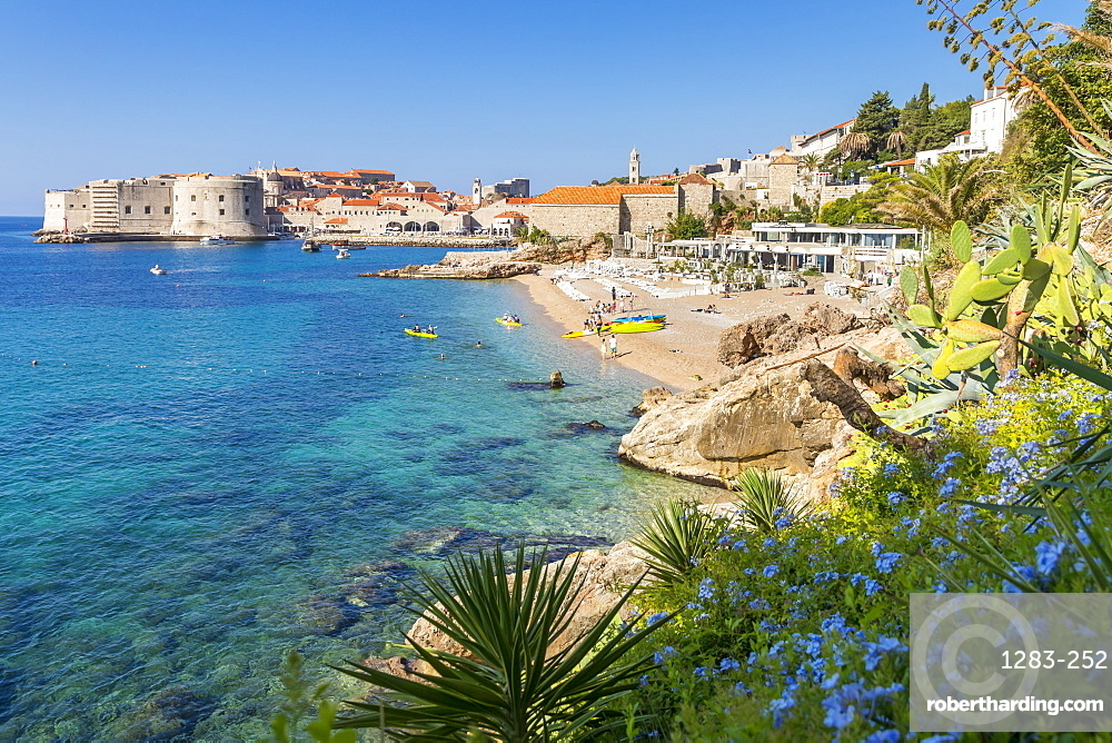 View over Banje Beach and the old town of Dubrovnik in the background, Croatia, Europe