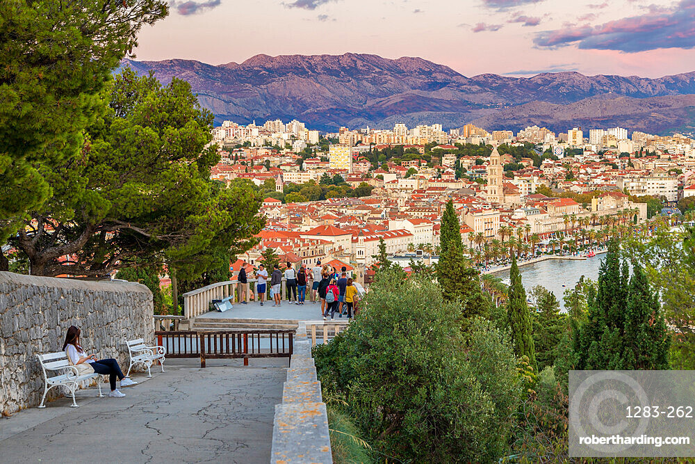 View from Marjan Hill over the old town of Split at dusk, Split, Croatia, Europe
