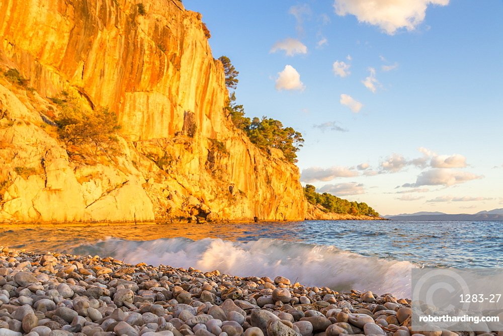 Nugal Beach near Makarska at sunset, Croatia, Europe