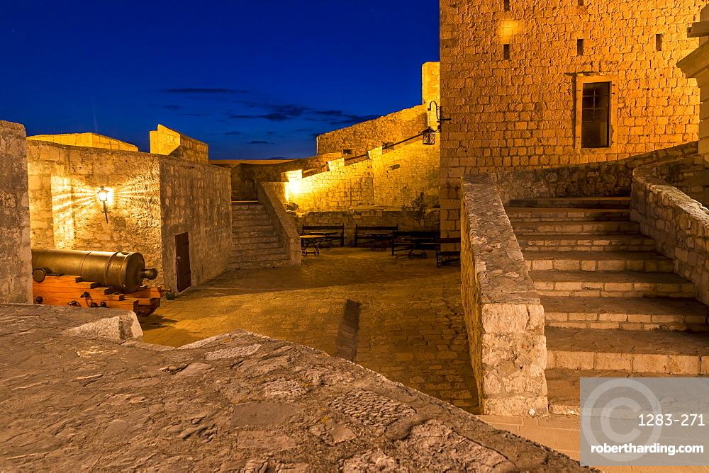 Inside the Spanish Fortress above Hvar Town at dusk, Hvar, Croatia, Europe
