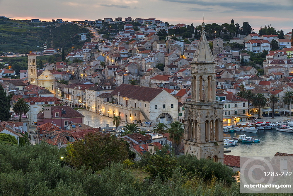 Elevated view over the old town of Hvar Town at dawn, Hvar, Croatia, Europe