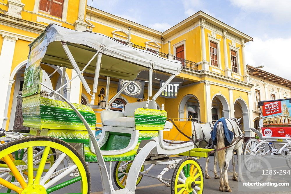 Typical horse carriage at the main square of Granada, Nicaragua, Central America