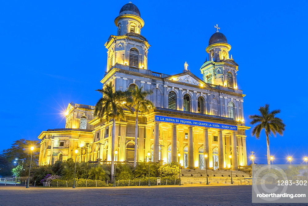 Ruins of the old cathedral Santiago de Managua at night