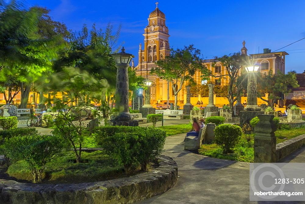 The Xalteva Church seen from Xalteva Park in Granada at dusk