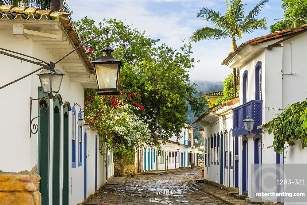 Colonial buildings in the historical centre of Paraty (Parati), Rio de Janeiro, Brazil, South America