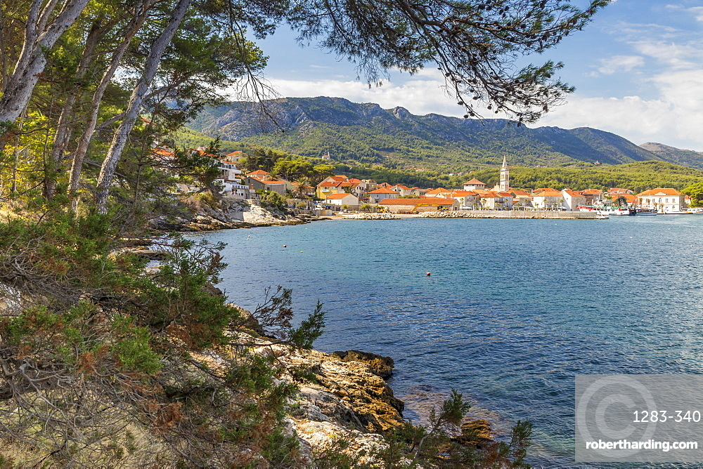 View to the old town of Jelsa, Croatia, Europe