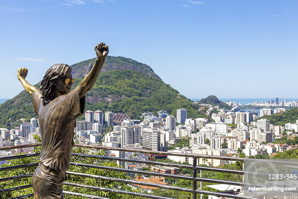 Statue of Michael Jackson at the lookout atop Santa Marta Favela, Rio de Janeiro, Brazil, South America
