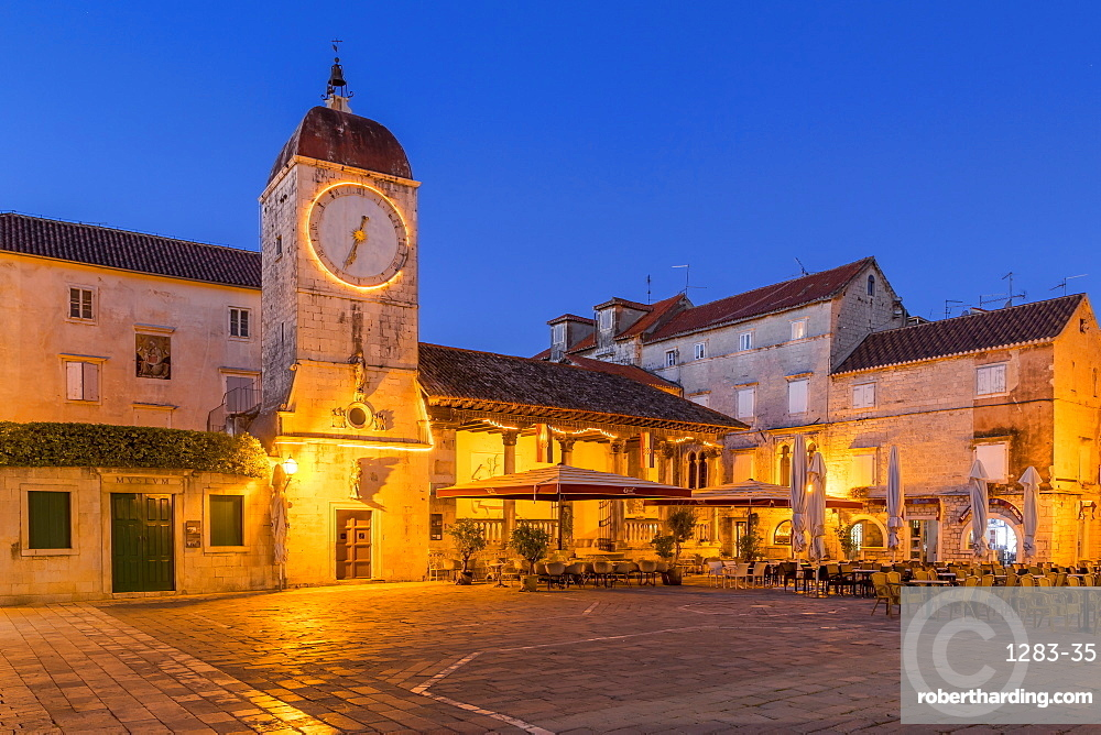 Clock tower of the City Loggia of Trogir at dawn, Croatia, Europe