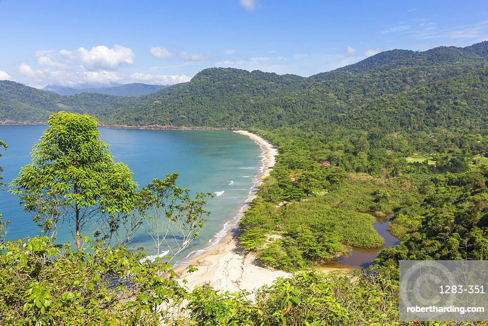 Elevated view over Praia do Sono beach near Paraty, Rio de Janeiro, Brazil, South America