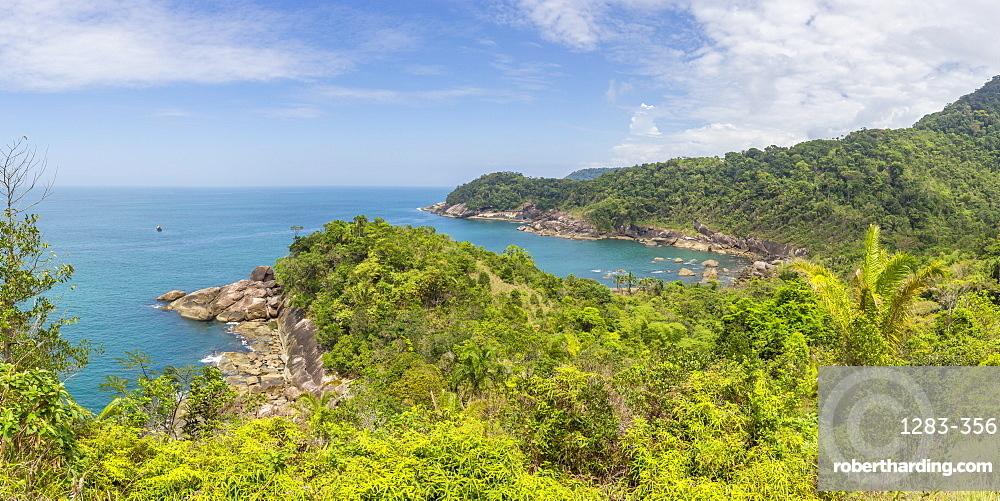 Panoramic view over Galhetas Bay near Paraty, Rio de Janeiro, Brazil, South America