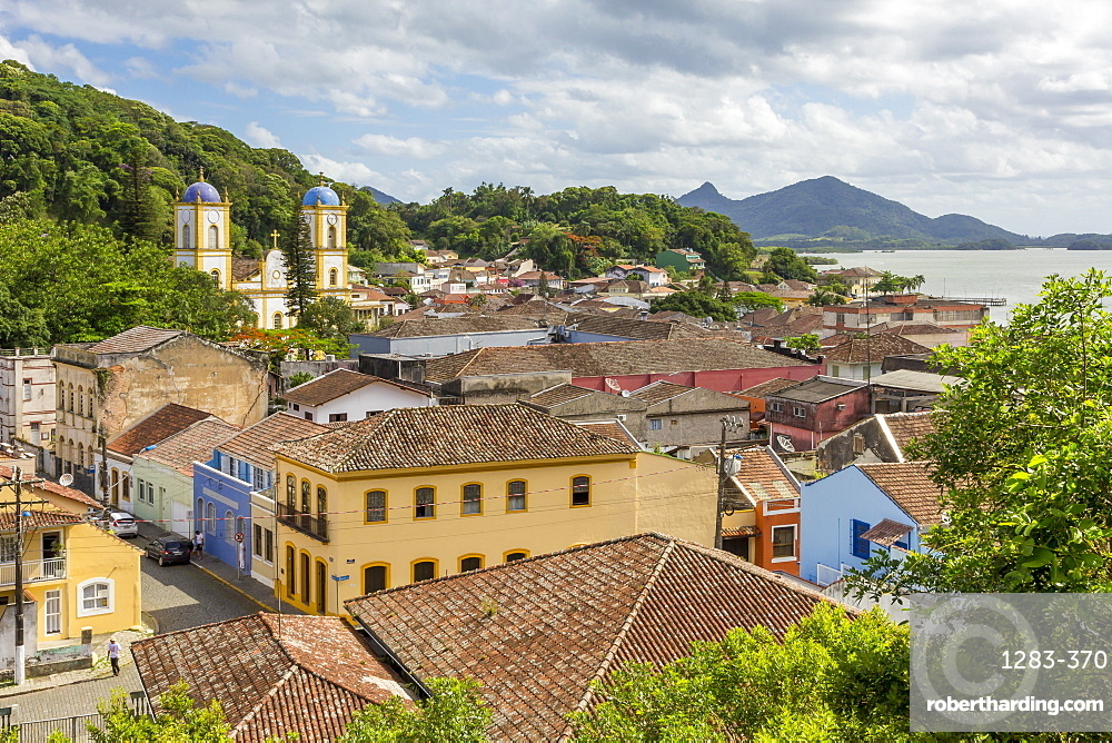 Elevated view from the municipal ecological park over the historical centre, Sao Francisco do Sul, Santa Catarina, Brazil, South America