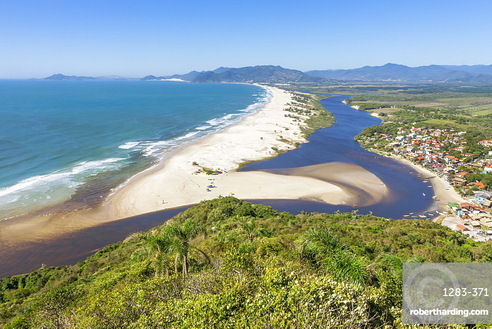 Elevated view from Urubu Rock over Guarda do Embau, Santa Catarina, Brazil, South America