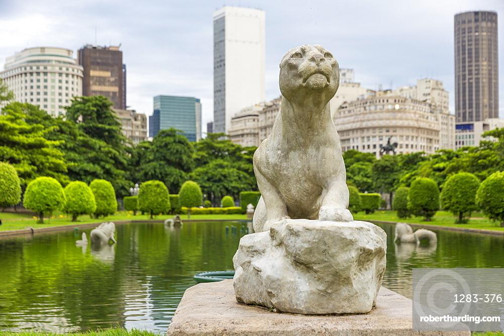 Lioness statue at Paris Square, Rio de Janeiro, Brazil