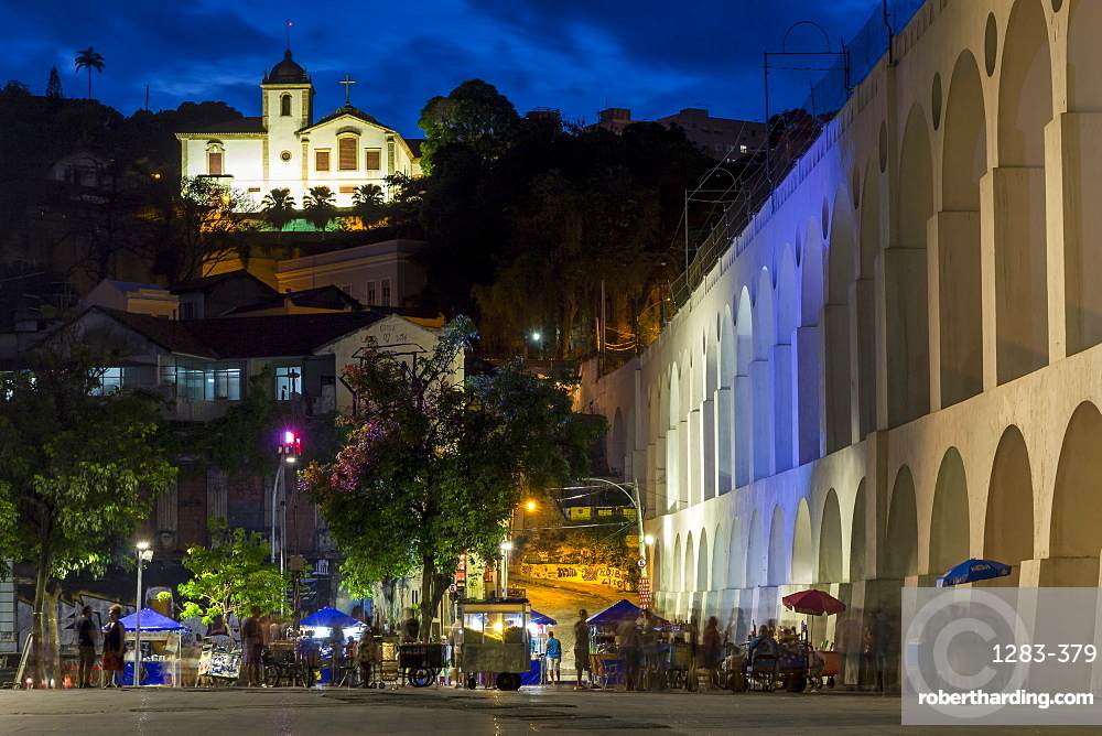 Night shot of the Lapa Arches and the Santa Teresa convent, Rio de Janeiro, Brazil, South America