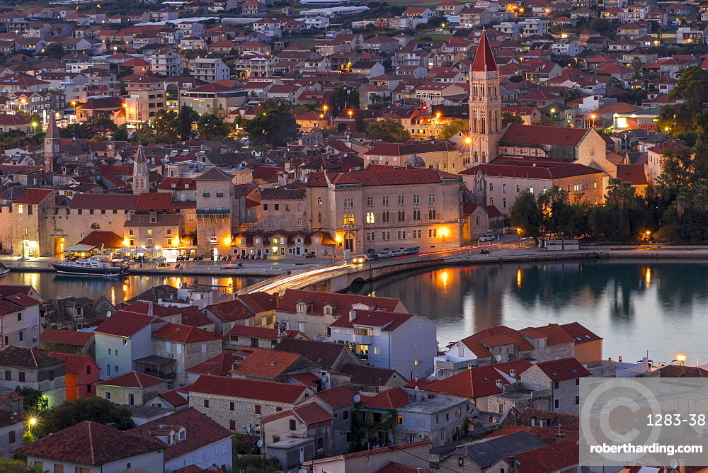 Elevated view over the old town of Trogir at dusk, UNESCO World Heritage Site, Trogir, Croatia, Europe