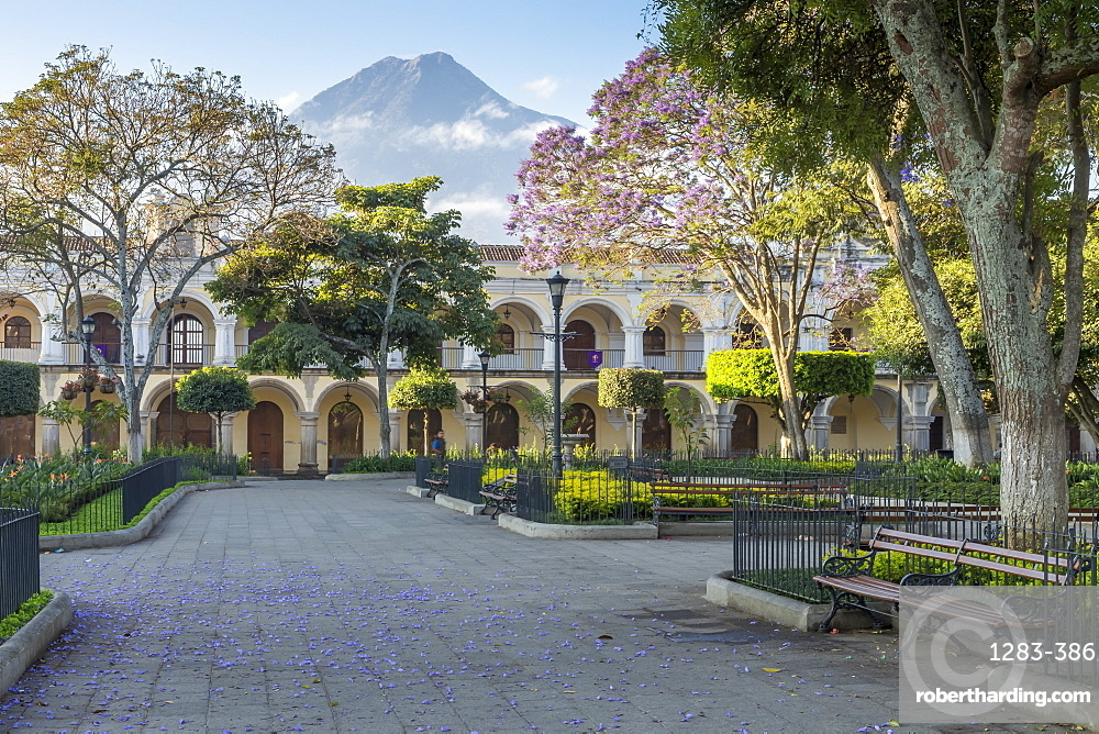 View from the main square to the Agua Volcano, Antigua, Sacatepequez, Guatemala, Central America