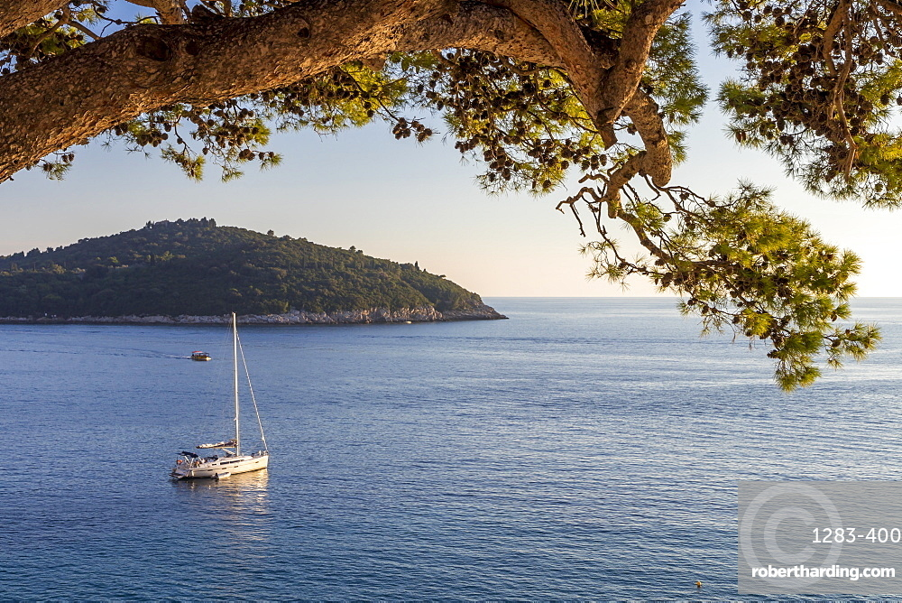 View to Lokrum Island at sunset, Dubrovnik, Croatia