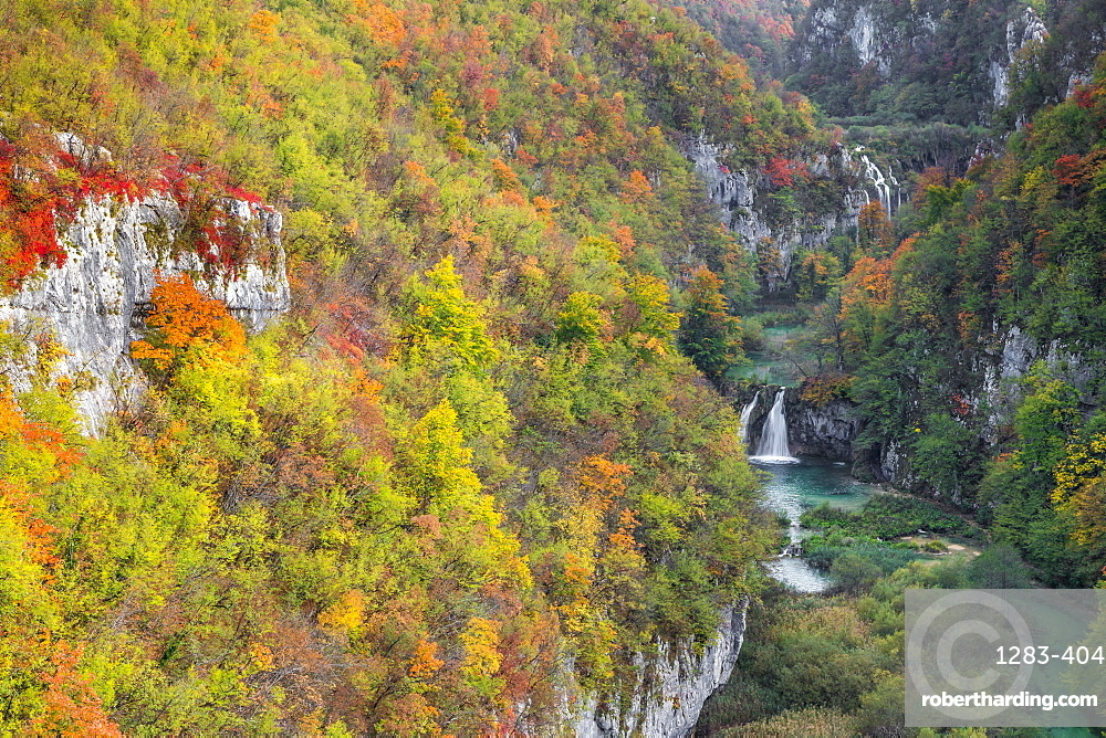 Elevated view over Korana River during autumn, Plitvice, Croatia