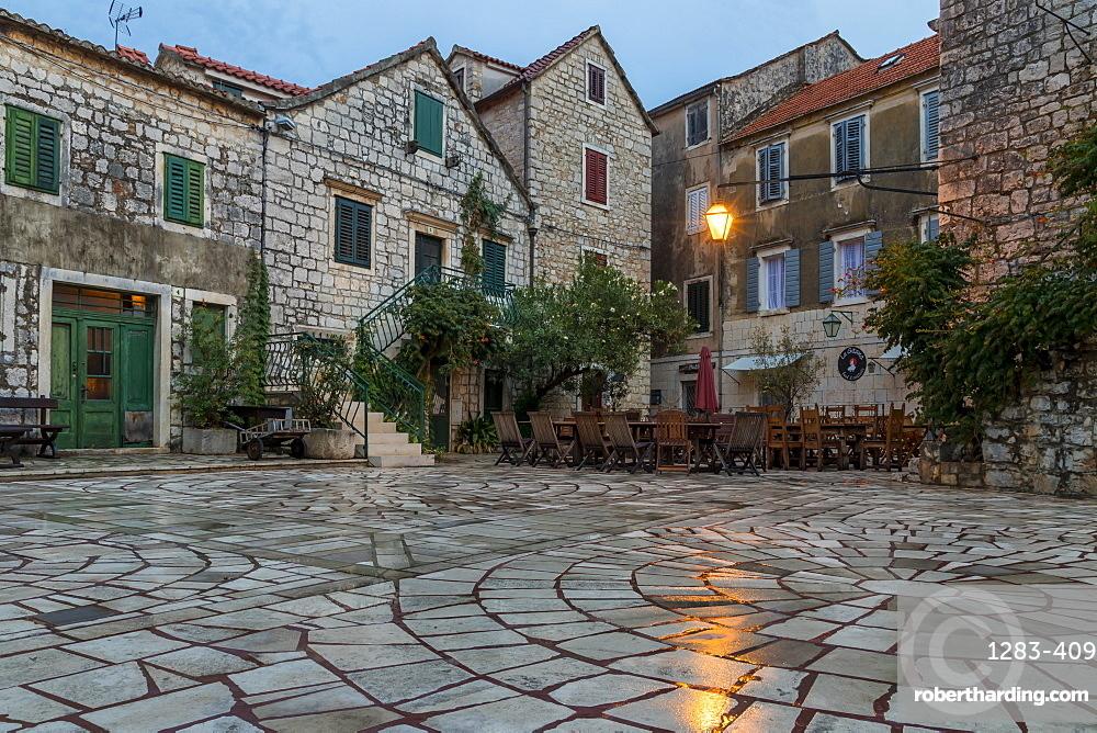 Small square in the old town of Stari Grad, Hvar Island, Croatia, Europe
