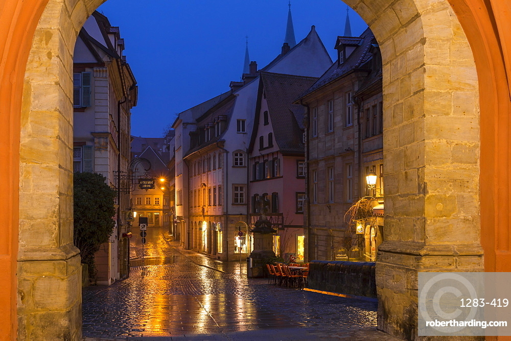 View from the gate of the old town hall, Bamberg, UNESCO World Heritage Site, Upper Franconia, Bavaria, Germany, Europe