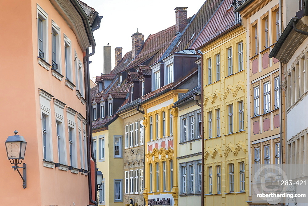 Fronts of old buildings at the historical centre of Bamberg, Upper Franconia, Bavaria, Germany, Europe