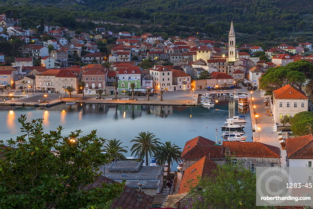 View over the old town of Jelsa on Hvar Island, Croatia, Europe