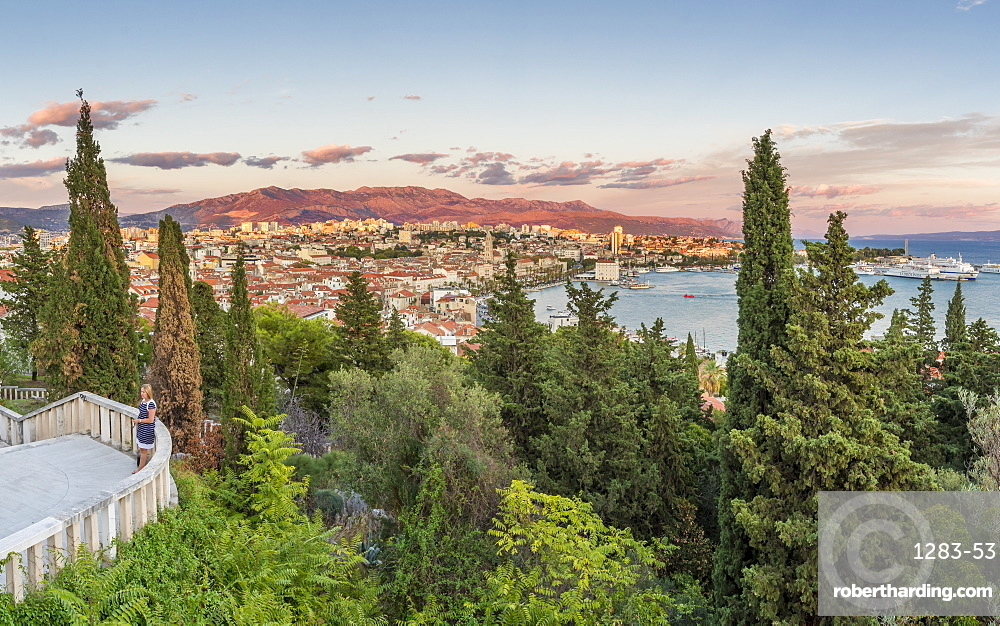 View from Marjan Hill over the old town at sunset, Split, Croatia, Europe