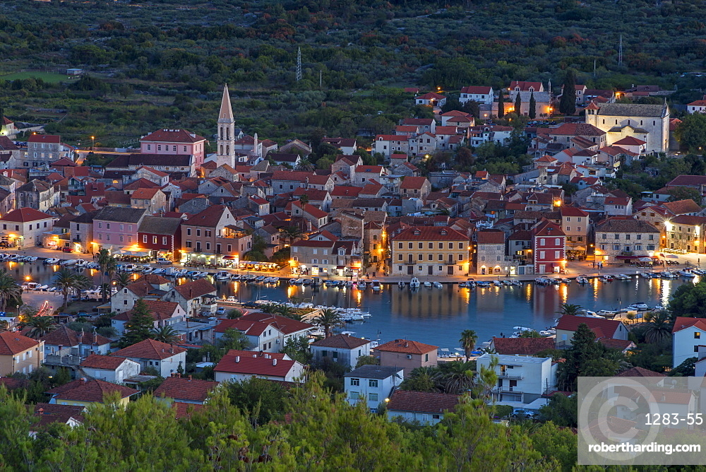 View from the lookout atop Glavica Hill over Stari Grad on Hvar Island at dusk