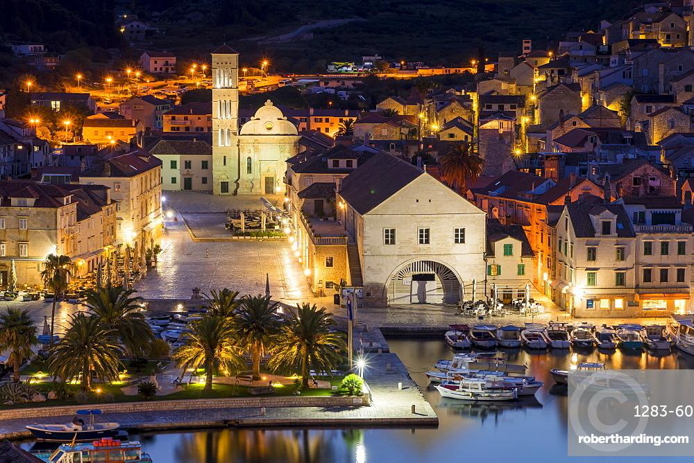 The old town of Hvar Town at dawn, Hvar, Croatia, Europe