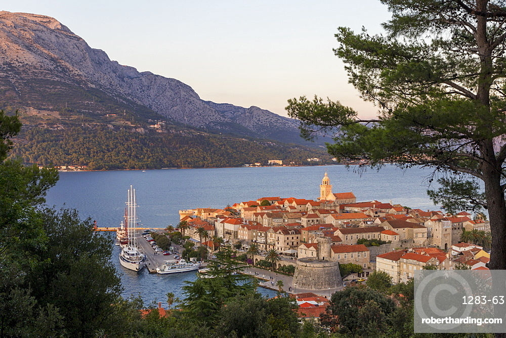 View from a lookout over the old town of Korcula, Croatia, Europe