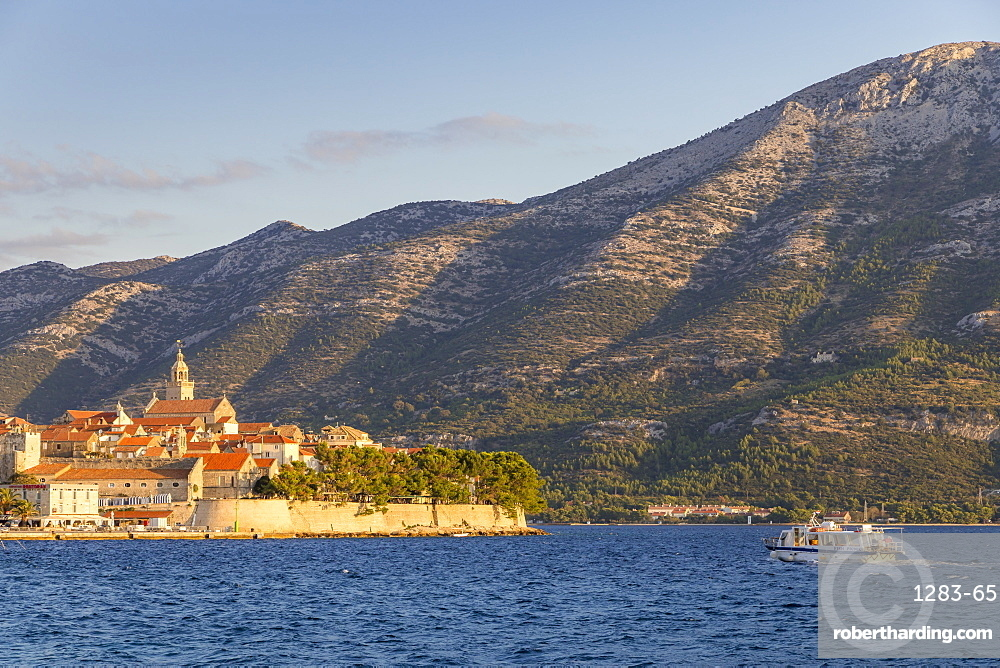 View to the old town of Korcula and the Peljesac Peninsula