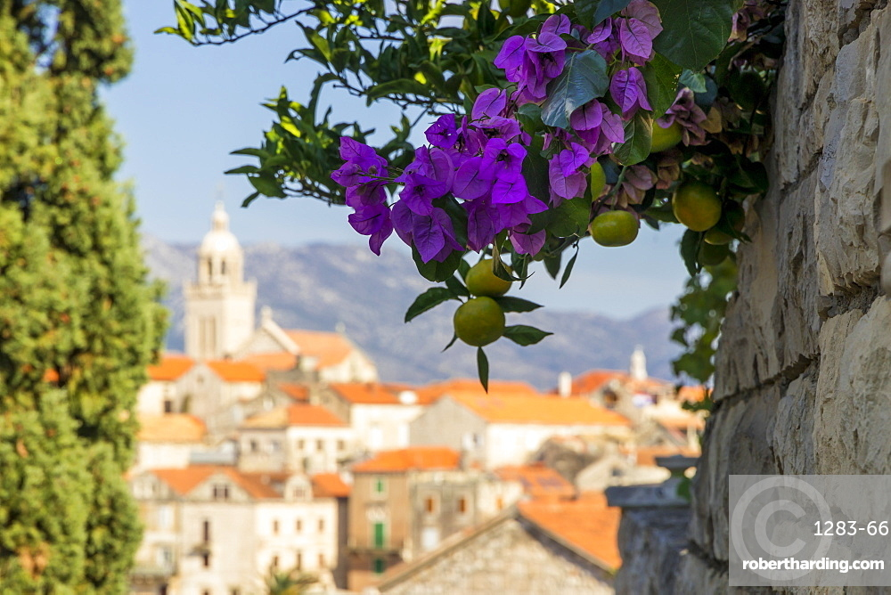 View to the old town of Korcula, Croatia, Europe