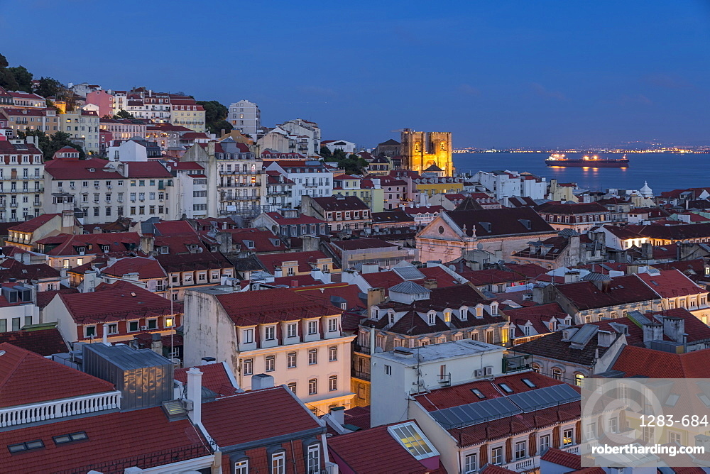 View from the Santa Justa Lookout over the city centre, Lisbon, Portugal, Europe
